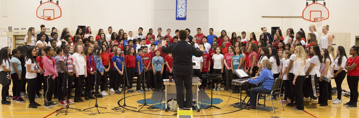 Weeks Middle School Students Singing in Choir