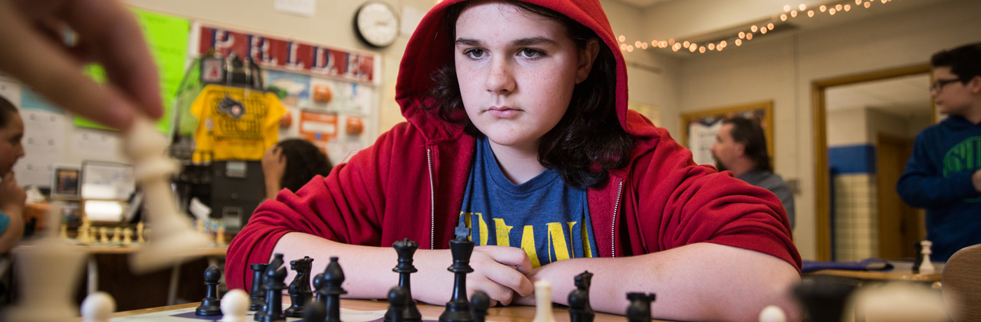 Weeks Middle School Student Playing Chess